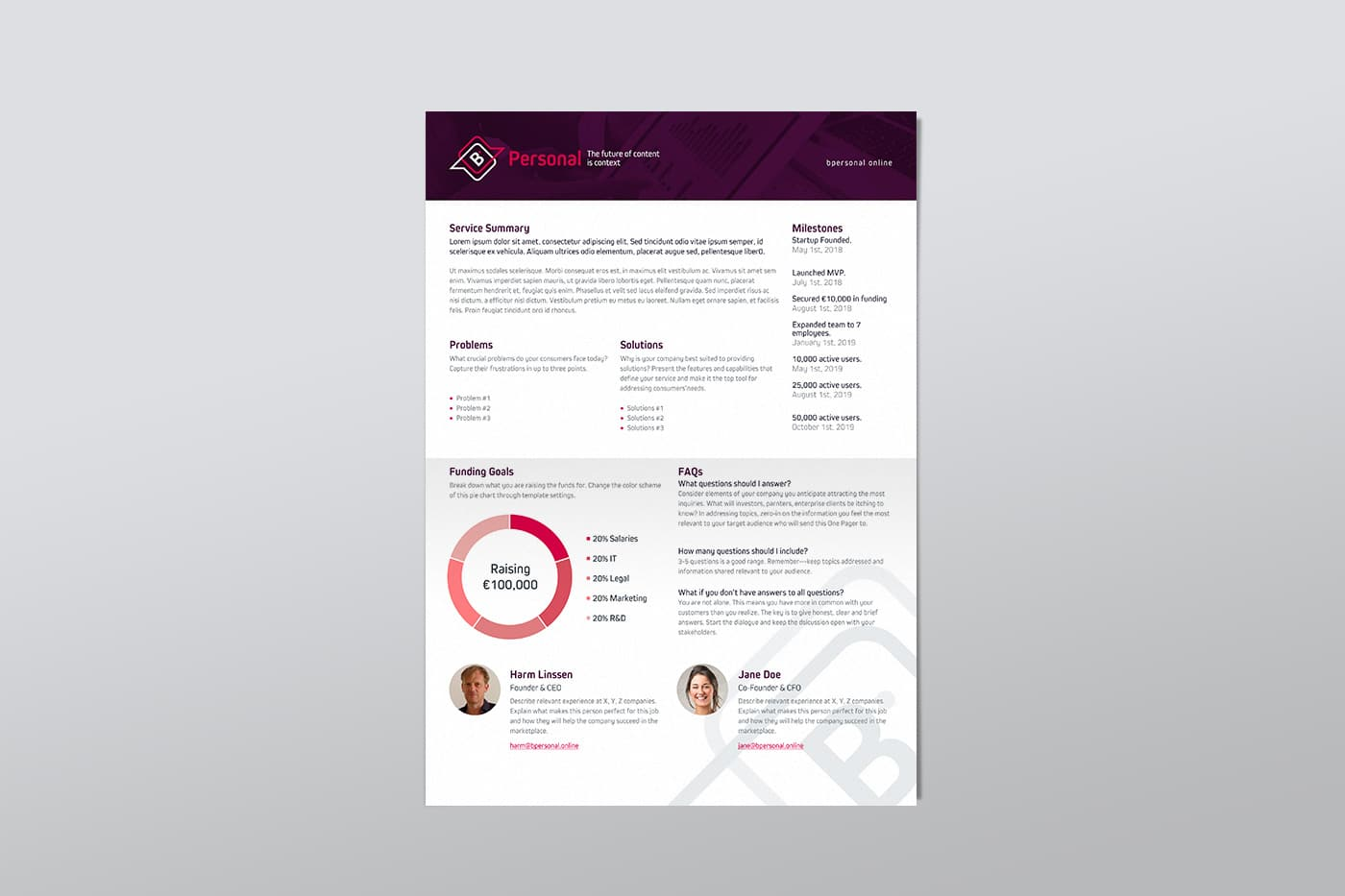 One Pager template BPersonal